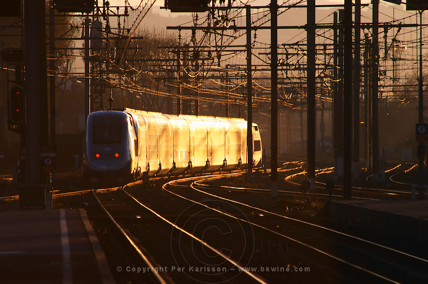 Train departing leaving from the train station. Agde town. Languedoc. France. Europe.