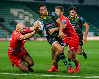 29th September 2020; Franklin Gardens, Northampton, East Midlands, England; Premiership Rugby Union, Northampton Saints versus Sale Sharks; Alex Mitchell of Northampton Saints is tackled by Robert du Preez of Sale Sharks