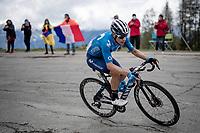 """Miguel """"Superman"""" López (COL/Movistar) up the climb towards La Plagne (HC/2072m/17.1km@7.5%) <br /> <br /> 73rd Critérium du Dauphiné 2021 (2.UWT)<br /> Stage 7 from Saint-Martin-le-Vinoux to La Plagne (171km)<br /> <br /> ©kramon"""