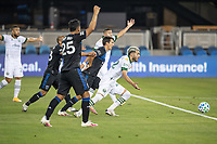 SAN JOSE, CA - SEPTEMBER 19: Cristhian Paredes #22 of the Portland Timbers chases the ball during a game between Portland Timbers and San Jose Earthquakes at Earthquakes Stadium on September 19, 2020 in San Jose, California.