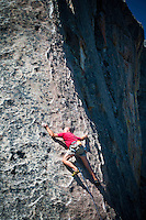 "Rock climber on ""Pygmies got Stoned"" City of Rocks National Reserve, Idaho."
