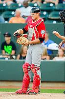 California League All-Star catcher John Hicks #8 of the High Desert Mavericks during the 2012 California-Carolina League All-Star Game at BB&T Ballpark on June 19, 2012 in Winston-Salem, North Carolina.  The Carolina League defeated the California League 9-1.  (Brian Westerholt/Four Seam Images)