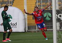BOGOTA - COLOMBIA - 15 - 07 - 2017: Juan Pablo Ramírez jugador de Deportivo Pasto, celebra el gol anotado a La Equidad, durante partido entre La Equidad y Deportivo Pasto, por la fecha 2 de la Liga Aguila II-2017, jugado en el estadio Metropolitano de Techo de la ciudad de Bogota. / Juan Pablo Ramirez player of Deportivo Pasto,  celebrates a scored goal to La Equidad, during a match between La Equidad and Deportivo Pasto, for the  date 2nd of the Liga Aguila II-2017 at the Metropolitano de Techo Stadium in Bogota city, Photo: VizzorImage  / Felipe Caicedo / Staff.