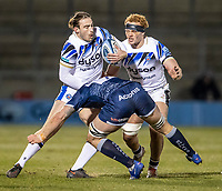 12th February 2021; AJ Bell Stadium, Salford, Lancashire, England; English Premiership Rugby, Sale Sharks versus Bath; Max Clark of Bath Rugby is tackled by Jono Ross of Sale Sharks