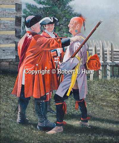 """Col Bouquet of the British Army greets a Native American Indian warrior helping to fight against a common enemy in the French and Indian War, Fort Ligonier in the Pennsylvania wilderness, circa 1764. Oil on canvas, 24"""" x 20""""."""