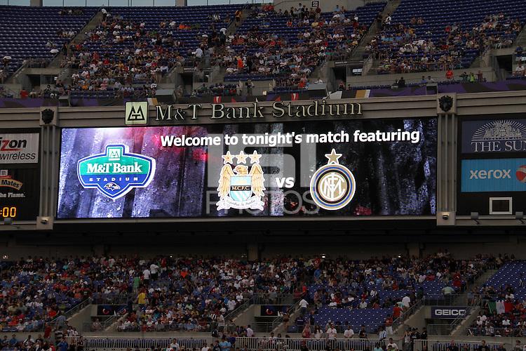 Stadium video screen during an international friendly match between Manchester City and Inter Milan on July 31 2010 at M&T Bank Stadium in Baltimore, Maryland. Milan won 3-0.