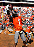 Oklahoma State Cowboys wide receiver Michael Harrison (7) in action during the game between the Baylor Bears and the Oklahoma State Cowboys at the Boone Pickens Stadium in Stillwater, OK. Oklahoma State defeats Baylor 59 to 24.