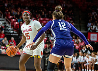 COLLEGE PARK, MD - JANUARY 26: Veronica Burton #12 of Northwestern defends against Ashley Owusu #15 of Maryland during a game between Northwestern and Maryland at Xfinity Center on January 26, 2020 in College Park, Maryland.