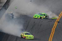 Feb 7, 2009; Daytona Beach, FL, USA; ARCA RE/MAX Series driver Patrick Sheltra (60) is hit by Larry Hollenbeck (23) as Frank Kimmel (44) spins during the Lucas Oil Slick Mist 200 at Daytona International Speedway. Mandatory Credit: Mark J. Rebilas-