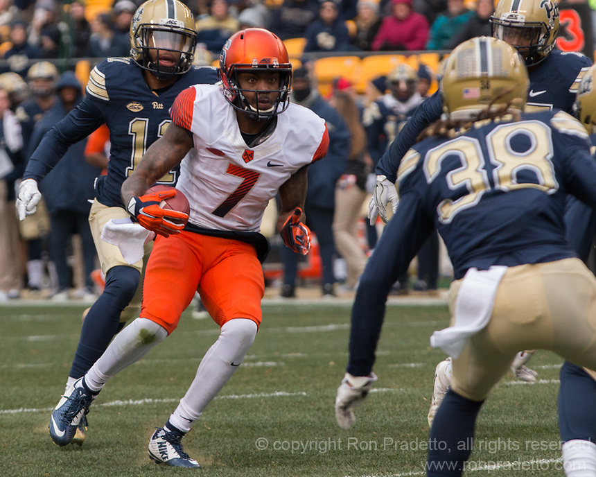 Syracuse wide receiver Amba Etta-Tawo. The Pitt Panthers defeated the Syracuse Orange 76-61 at Heinz Field in Pittsburgh, Pennsylvania on November 26, 2016.