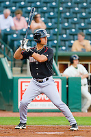 Rangel Ravelo #24 of the Kannapolis Intimidators at bat against the Greensboro Grasshoppers at NewBridge Bank Park on May 15, 2012 in Greensboro, North Carolina.  The Grasshoppers defeated the Intimidators 11-2.  (Brian Westerholt/Four Seam Images)