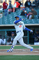 Yusniel Diaz (21) of the Rancho Cucamonga Quakes bats against the Lancaster JetHawks at The Hanger on April 20, 2017 in Lancaster, California. Lancaster defeated Rancho Cucamonga 4-0. (Larry Goren/Four Seam Images)