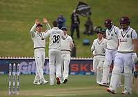 NZ's Tim Southee celebrates dismissing Jason Holder for 61 during day four of the second International Test Cricket match between the New Zealand Black Caps and West Indies at the Basin Reserve in Wellington, New Zealand on Monday, 14 December 2020. Photo: Dave Lintott / lintottphoto.co.nz