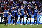 FC Internazionale Forward Stevan Jovetic (C) gestures while celebrating his goal with his teammates during the International Champions Cup 2017 match between FC Internazionale and Chelsea FC on July 29, 2017 in Singapore. Photo by Marcio Rodrigo Machado / Power Sport Images
