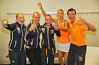 Netherlands, Den Bosch, April 18 2015 Maaspoort, Fedcup Netherlands-Australia,  The Dutch team defeats Australia and celebrate, l.t.r.: Kiki Bertens, Arantxa Rus Michaëlla Krajicek end Richel Hogenkamp.<br /> Photo: Tennisimages/Henk Koster