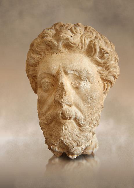 Roman sculpture of the Emperor Marcus Aurelius, excavated  from Carthage made circa 161-180 AD. The Bardo National Museum, Tunis, Inv No: C.965