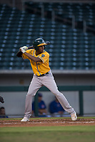 AZL Athletics center fielder Kevin Richards (37) at bat during an Arizona League game against the AZL Cubs 1 at Sloan Park on June 28, 2018 in Mesa, Arizona. The AZL Athletics defeated the AZL Cubs 1 5-4. (Zachary Lucy/Four Seam Images)