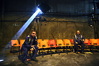 "Pictured: Actors Simon Nehan and Sion Tudor Owen<br /> Re: Press rehearsal of ""We'Re Still Here"", a play created by Rachel Trezise, Common Wealth and the National Theatre Wales about steelworkers, which will be performed in Byass Works, a disused industrial unit, in Port Talbot, south Wales, UK."