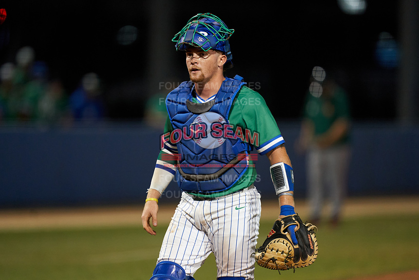 Florida Gulf Coast Eagles catcher Mac Moise (20) during an NCAA game against the Miami Hurricanes on March 17, 2021 at Swanson Stadium in Fort Myers, Florida.  (Mike Janes/Four Seam Images)