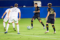 CARSON, CA - SEPTEMBER 06: Andy Najar #24 of LAFC moves with the ball during a game between Los Angeles FC and Los Angeles Galaxy at Dignity Health Sports Park on September 06, 2020 in Carson, California.