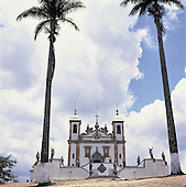 Congonhas do Campo, Brazil. Church of Bom Jesus de Matozinhos with sculptures of the 12 prophets in soapstone by Aleijadinho.