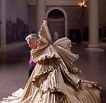 Parma,Palazzo della Pilotta, Roberto Capucci ritratto con un suo abito scultura; Roberto Capucci portrayed with one of his sculpture dress