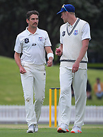Auckland bowlers Danru Ferns (left) and Kyle Jamieson during day three of the Plunket Shield match between the Wellington Firebirds and Auckland Aces at the Basin Reserve in Wellington, New Zealand on Monday, 16 November 2020. Photo: Dave Lintott / lintottphoto.co.nz