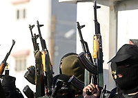 """Masked Palestinian gunmen protest against the upcoming U.S.-hosted Mideast peace conference, in Gaza City, Sunday, Nov. 25, 2007. Israeli, Palestinian, Arab and world leaders are set to meet in Annapolis, Maryland this week at a U.S. hosted peace conference. """"photo by Fady Adwan"""""""