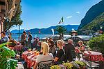 Italy, Lombardia, Menaggio: popular resort on the West Banks of Lake Como - Café Hotel du Lac at Piazza Guiseppe Garibaldi | Italien, Lombardei, Menaggio: beliebter Urlaubsort an der Westkueste des Comer Sees, von hier besteht eine Faehrverbindung nach Bellagio und Varenna - Café Hotel du Lac an der Piazza Guiseppe Garibaldi