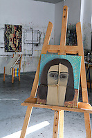 art studio with artworks