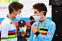 IMOLA, ITALIA - SEPTEMBER 25 : VAN AERT Wout (BEL) and GANNA Filippo (ITA) during the Men Elite Individual Time Trial at the UCI 2020 Road World Championships cycling race in Emilia Romagna Imola, Italia, 25/09/2020 <br /> Imola 25/09/2020 <br /> Campionati Mondiali Ciclismo 2020 <br /> Cronometro <br /> Photo Vincent Kalut/Photonews/Panoramic/Insidefoto <br /> ITALY ONLY