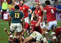 Ali Price, Tadhg Furlong, Robbie Henshaw and Duhan van der Merwe celebrate wildly after The British & Irish Lions  score their only try of the match by Luke Cowan-Dickie early in the second half as he is tackled by Eben Etzebeth - South Africa lock.<br /> South Africa v British & Irish Lions, 1st Test, Cape Town Stadium, Cape Town, South Africa,  Saturday 24th July 2021. <br /> Please credit: FOTOSPORT/DAVID GIBSON