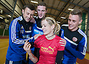 Scots Athlete Eilidh Child takes Hearts' players Dale Carrick, Jack Hamilton and Kevin McHattie through their paces at Grangemouth Stadium.