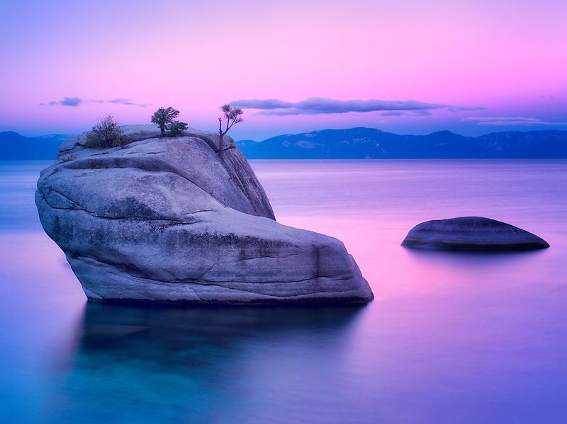 Bonsai Rock at sunrise. Lake Tahoe, Nevada