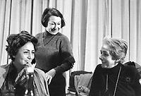 Luciana Castellina, Lidia Menapace e Rossana Rossanda durante il congresso di unificazione del gruppo del Manifesto col PDUP, Partito di Unità Proletaria (Bologna 1976)