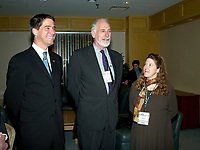 Montreal, March 28, 2001<br /> Quebec Environment (new) Minister Andre Boisclair (left) discuss with Canada Environment Minister David Anderson (middle) and Reseau Environnement President Nathalie Drapeau (right) before the opening plenary session of Americana 2001, March 28, 2001 in Montreal, Canada<br /> Organized by Reseau Environnement, Americana is the biggest North American convention and trade show on environment and waste management.<br /> <br /> <br /> Photo :   Pierre Roussel / AGENCE QUEBEC PRESSE