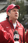 Washington State head football coach, Mike Leach, is interviewed following a Cougar spring practice at Rogers Field on the Washington State campus in Pullman, Washington, on March 24, 2012.