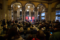 """Rome, 03/02/20. The Galleria Alberto Sordi (outside la Feltrinelli store) was the venue for the book presentation """"Giulio Fa Cose"""" (Giulio Does Things, Ed. la Feltrinelli, 1.) written by Paola Deffendi and Claudio Regeni (Giulio Regeni's Parents), and Alessandra Ballerini (Regeni's Lawyer). The event was hosted by Marino Sinibaldi (Journalist, literary critic, Radio host). Reader was Valerio Mastandrea (Director & Actor). From la Feltrinelli's website: «The world of politics has not yet responded to the tragedy of Giulio Regeni, who died on 25 January 2016 in Cairo. Al Sisi's Egypt did not respond. Indeed, it continues to sabotage the investigation into the kidnapping, torture and murder of the son of Paola and Claudio Regeni: in four years the Egyptians have killed five innocent people, invented incredible stories, falsified documents to remove suspects from their apparatuses. But without succeeding[…]» (1.)<br /> Giulio Regeni was an Italian Cambridge University graduate (PhD student at Girton College) who was kidnapped, tortured and killed in Egypt while he was researching Egypt's independent trade unions. The body of the 28-year-old researcher was found on a Cairo road on 3 February 2016. According to the autopsy, Giulio died after a vertebra in his neck was fractured. Moreover, his body - found on the Cairo-Alexandria desert road - shown signs of tortures, abrasions - including marks similar to cigarette burns - and fractures. After four years of disinformation, depistaggi, reticence, misdirection, the role of the Cambridge University, the role of President Al-Sisi Egyptian regime, after four years of a very difficult investigations for the Italian Police, the Regeni family and thousands of people are still calling for immediate truth about this brutal assassination.<br /> <br /> Footnotes & Links:<br /> 1. http://bit.do/fqv39<br /> https://giuliosiamonoi.wordpress.com<br /> http://bit.do/frEzC<br /> 25.01.20 - 4 Anni Senza Giulio http://bit.do/frExj<br /> Vide"""