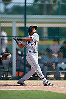 Detroit Tigers Jose King (17) follows through on a swing during a Florida Instructional League game against the Pittsburgh Pirates on October 2, 2018 at the Pirate City in Bradenton, Florida.  (Mike Janes/Four Seam Images)