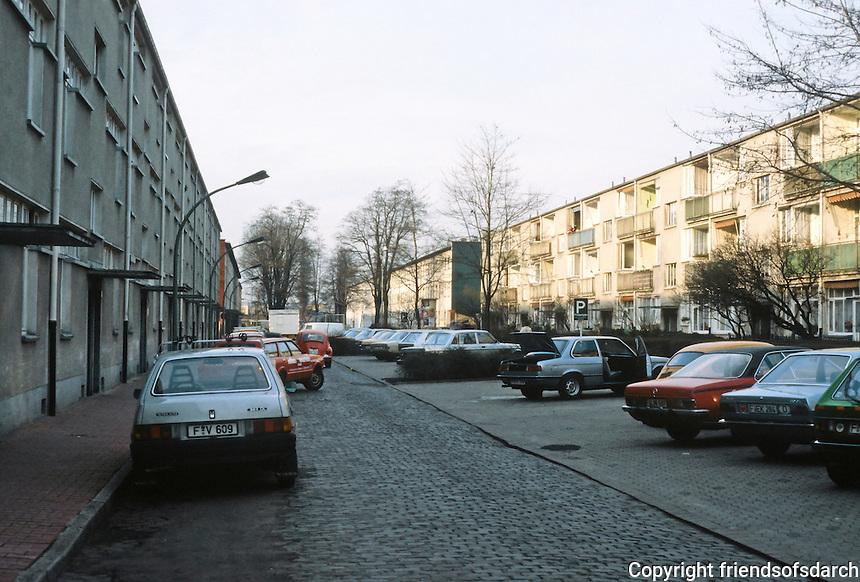 Frankfurt: Hellerhofsiedlung, 1929-30. Street view. Planning and architecture by Mart Stam.