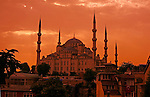 The minarets of the the Blue Mosque jut into the evening sky in Istanbul, Turkey. The Blue Mosque was built between 1609 and 1616 by imperial architect Mehmet Aga.