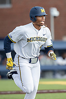 Michigan Wolverines designated hitter Jordan Nwogu (42) runs to first base against the Western Michigan Broncos on March 18, 2019 in the NCAA baseball game at Ray Fisher Stadium in Ann Arbor, Michigan. Michigan defeated Western Michigan 12-5. (Andrew Woolley/Four Seam Images)