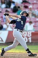 Eugene Emeralds outfielder Jose Dore #12 bats against the Salem-Keizer Volcanoes at Volcanoes Stadium on August 9, 2011 in Salem-Keizer,Oregon. Eugene defeated Salem-Keizer 13-7.(Larry Goren/Four Seam Images)