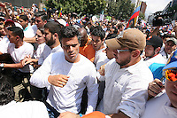 Venezuela: Caracas,18/02/14 <br /> Leopoldo Lopez arrives to a the rally in support of himself in Plaza Brion in Chacav?to, Caracas. Lopez was then handed to the National Guard, because the government had issued an arrest warrant against him responsible for the violence of the protest 12F, where two students and a member of a pro-government paramilitary group died. <br /> Adolfo Acosta/Archivolatino