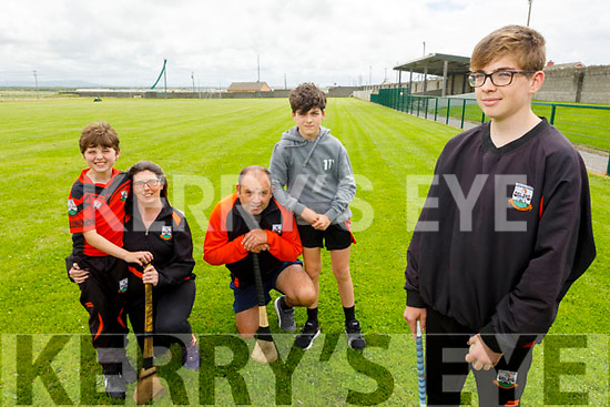 The O'Sullivan family from Ballyheigue looking forward to hurling action as Ballyheigue GAA clubs reopens. <br /> Front right: Jayden O'Sullivan.<br /> Back l to r: Jack, Eamon, Fiona and Eric O'Sullivan.