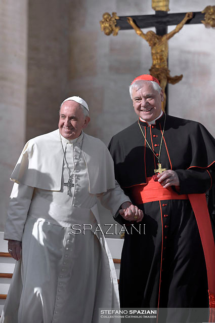 Cardinal Gerhard Ludwig Müller,Pope Francis during his weekly general audience in St. Peter square at the Vatican, Wednesday.November 19, 2014
