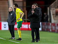 Norwich City manager Daniel Farke shouts instructions to his team from the technical area<br /> <br /> Photographer Alex Dodd/CameraSport<br /> <br /> The EFL Sky Bet Championship - Middlesbrough v Norwich City - Saturday 21st November 2020 - Riverside Stadium - Middlesbrough<br /> <br /> World Copyright © 2020 CameraSport. All rights reserved. 43 Linden Ave. Countesthorpe. Leicester. England. LE8 5PG - Tel: +44 (0) 116 277 4147 - admin@camerasport.com - www.camerasport.com