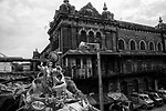 A idol of lord krishna (hindu god) is placed on a rooftop of a building in Kolkata, India.