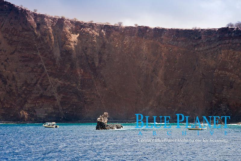 Moku Naio aka Shark Fin Rock, a popular dive site, Kaholo Pali sea cliff , 194 feet (59.13m) high, South Lanai, Lanai aka Pineapple Island because of its past as an island-wide pineapple plantation of Dole, the sixth-largest island of the Hawaiian Islands, Hawaii, USA, Pacific Ocean