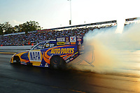 Oct. 5, 2012; Mohnton, PA, USA: NHRA funny car driver Ron Capps during qualifying for the Auto Plus Nationals at Maple Grove Raceway. Mandatory Credit: Mark J. Rebilas-